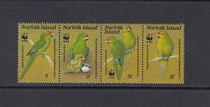 A016  Norfolk Island  1987  birds  WWF   strip   MNH