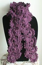 Beautiful Plum Purple Queen Anne's Lace Handmade Crochet Acrylic Scarf