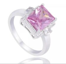 925 Sterling Silver Pink Opal Engagement Ring 8 Women's October Birthday