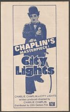 India herald for 1970s release of 1931 CITYLIGHTS Chalie Chaplain