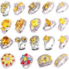 20 Styles Fashion Topaz Jewelry Citrine Gemstone Silver Ring Gift Size 6-13