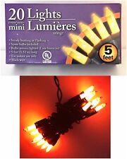 20 Mini Indoor Lights ORANGE String Holiday Halloween Decoration Lights 5' NIB
