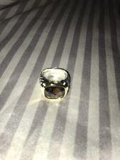 David Yurman sterling silver & 14K gold Smoky Quartz Classic Cable ring. Size 8