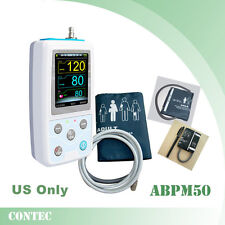 USA Stock Contec ABPM50 Ambulatory Blood Pressure Monitor Holter NIBP + 3 Cuffs