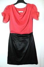 RASPBERRY PINK RED BLACK LADIES DRESS PARTY EVENING CLUBWEAR SIZE 8 CE ME LONDON