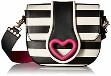 Betsey Johnson Loop Di Loo Crossbody Black White Stripes Pink Heart Purse - NWT