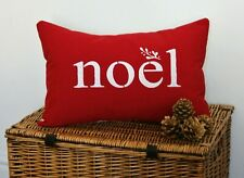 NOEL CUSHION COVERS MISTLETOE RED WHITE RECTANGLE OBLONG CHRISTMAS CUSHION 🎄