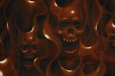 Alexander Henry SKULLS ON FIRE Fabric Skull Hell Flames Brown Scary 1/2 Yd