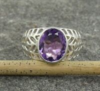 Natural Amethyst Gemstone 925 Sterling Silver Wedding Men's Ring Size 4 to 15