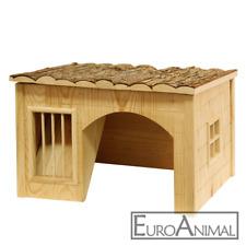 Nagerhaus Kleintierhaus mit Heuraufe; Kaninchenhaus Nature Meerschweinchen