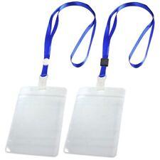 2 Pcs Porte Badge ID Carte Laniere tour de cou reglable Clair Bleu S4A7