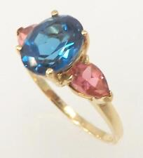 10K YELLOW GOLD OVAL BLUE & PEAR SHAPED PINK TOPAZ LADIES RING SIZE 7 - 2.7gr