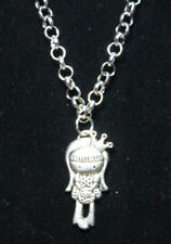 """Princess Girl Charm Pewter Pendant Silver Rhodium Chain 18"""" Necklace little lady"""