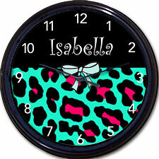 Blue & Pink Leopard & Black Custom Personalized Wall Clock Girl Bedroom New!