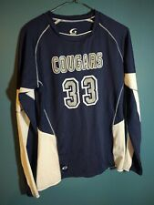 Gtm Sportswear Ladies Authentic warm up shirt blue and white cougars #33 large