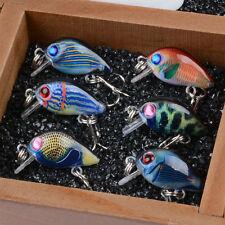 6pcs/lot Mini Colorful Crank Bait Bass CrankBaits Tackle Fishing Lures 3cm/1.5g