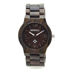 Bewell Men's Quartz Watch Roman Numeral Scales Natural Maple Wood Watch