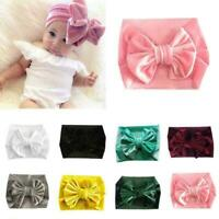 Gold Velvet Turban Bows Headband Baby Girl Elastic Knot Hair Band Head Wrap Y1H0