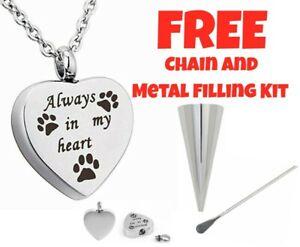 Always in my Heart Dog Cat Pet Cremation Necklace Keepsake Memorial Jewellery