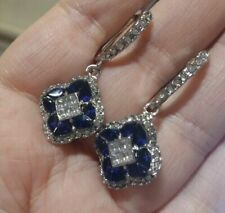 ❤️Earrings 9ct White Gold Over Blue❤️ Sapphire Diamond Drop 42 mm Silver Gift ❤️