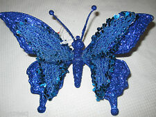 (1) NEW Christmas Butterfly Glitter Ornaments Decoration Blue