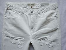 TOPSHOP HAYDEN shorts boyfriend Jeans white rips 3/4 length 12 W30 L30 L25