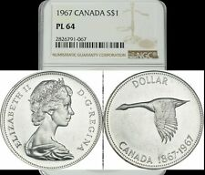 1967 CANADA GOOSE SILVER $1 DOLLAR BU NGC PL64 PROOF LIKE GRADED COIN