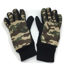 Boys Black Camo Winter Gloves Microfleece Youth Small 4-7 New