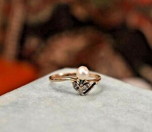 Antique Edwardian 14K rose gold Platinum pearl rose cut diamond ring