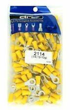 "100 PACK 1/4"" 12-10 GAUGE AWG YELLOW VINYL RING TERMINAL CONNECTORS 1/4"""