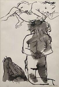 "Original Ink & Wash By Arthur Boyd ""Dreaming"" Untitled Hand Signed"