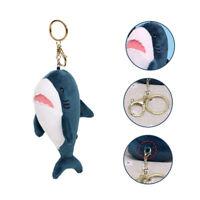 JQ_ Soft Plush Cartoon Shark Keychain Bag Pendant Key Rings Hanging Ornament D