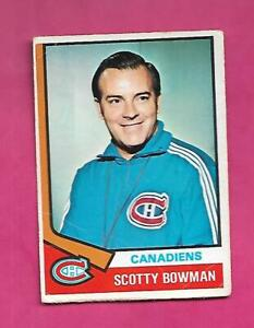 1974-75 OPC # 261 CANADIENS SCOTTY BOWMAN  ROOKIE GOOD CARD (INV# D7250)