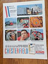 1959 Chesterfield Ad Long-Haul Trucker NY PA NJ