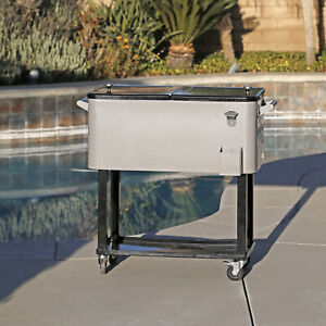 Clevr 80 Qt Quart Rolling Cooler Ice Chest Patio Outdoor Picnic Portable Grey