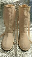 UGG Australia W HEIRLOOM Lace Up Boots 1000693 US Size 6 Knit &Cotton&Sheepskin
