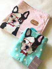 NWT Nanette Lepore 2PC Bath Shower Hand Towel Boston Terrier Dog French Macaroon