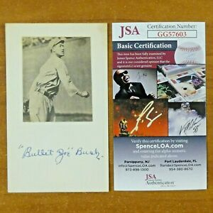 Bullet Joe Busch Red Sox Played w/ Babe Ruth Signed 3x5 Index Card with JSA COA