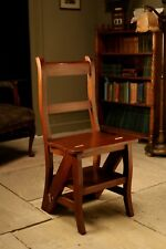 Mahogany Metamorphic Step Chair Converts to Library Steps Antique Repro Ocs023