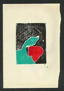 EDVARD MUNCH - woodcut on original paper of the 1910's- girl with red heart
