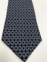 Brooks Brothers Makers Blue Silk Geometric Pattern Necktie Tie - MADE IN USA