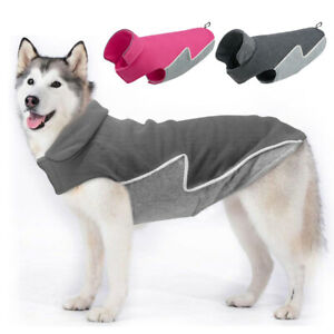 Fleece Dog Coats for Large Dogs Winter Reflective Pet Warm Clothes Apparel M-3XL
