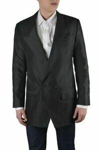 Dolce & Gabbana Men's Gray Silk Double Breasted Blazer Size US 38 IT 48
