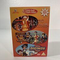Jetix Digimon / King Arthur / VR Troopers (DVD, 2004, 3-Disc Set) 90s Cartoons