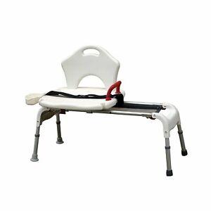Drive Medical Folding Universal Sliding Transfer Bench, White. Model RTL12075