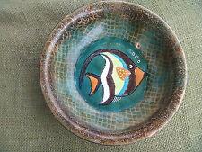 Vintage Studio Art Handpainted Enamel Tropical Fish Scale Background Copper Bowl