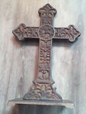 """Vintage Cast Iron Cross Religion Stand Base 12.5"""""""
