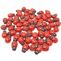 Mini 9x12mm Self Adhesive Wooden Ladybird Ladybugs Craft Card Wood Toppers
