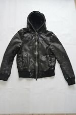 All Saints Black Departed Full Leather Zip Hooded Jacket Coat Mens Small S
