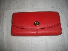 AUTH COACH VERMILLION TURNLOCK PARK LEATHER SLIM ENVELOPE WALLET NWT 49167